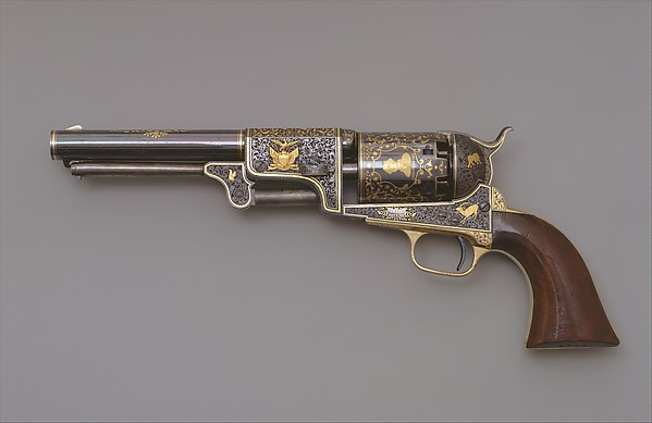 Colt Third Model Dragoon Percussion Revolver, Serial Number 12406, Samuel Colt (American, Hartford, Connecticut 1814–1862), Steel, brass, gold, wood (walnut), American, Hartford, Connecticut