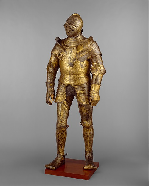 Armor Garniture, Probably of King Henry VIII of England (reigned 1509–47), Design of the decoration attributed to Hans Holbein the Younger (German, Augsburg 1497/98–1543 London), Steel, gold, leather, copper alloys, British, Greenwich