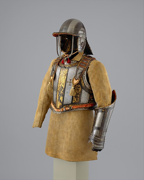 Harquebusier's Armor of Pedro II, King of Portugal (reigned 1683–1706), Attributed to Richard Holden (British, London, recorded 1658–1708), Steel, gold, leather, textile, British, London