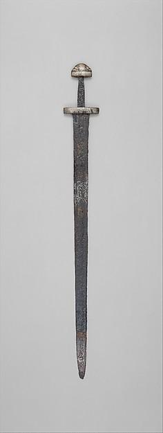 Sword, Steel, copper, silver, niello, European, probably Scandinavia