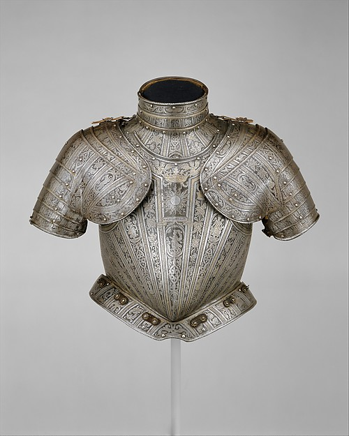 Portions of an Armor for  Vincenzo Luigi di Capua (d. 1627), Pompeo della Cesa (Italian, Milan, ca. 1537–1610), Steel, gold, leather, copper alloy, Italian, Milan