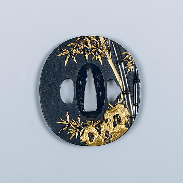 Sword Guard (Tsuba), Inscribed by Ishiguro Masayoshi (Japanese, 1772–after 1851), Copper-gold alloy (shakudō), gold, copper-silver alloy (shibuichi), copper, Japanese