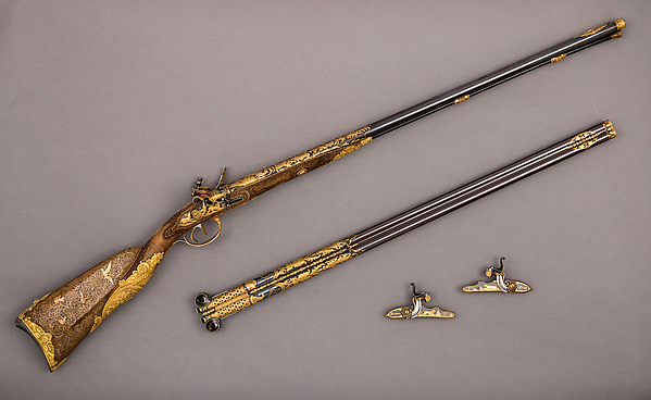 Double-Barreled Flintlock Shotgun with Exchangeable Percussion Locks and Barrels, Nicolas Noël Boutet (French, Versailles and Paris, 1761–1833), Steel, gold, wood (walnut), silver, horn, French, Versailles and Paris