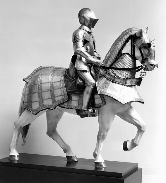 Armor for Man and Horse, Steel, gold, leather, copper alloy, textile, Italian, probably Milan