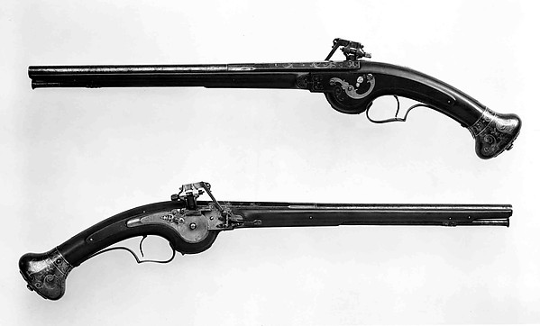 Pair of Wheellock Pistols, François Du Clos (French, Paris, recorded 1636–active ca. 1650), Steel, gold, brass, wood, silver, mother-of-pearl, French, Paris