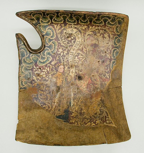 Shield for the Field or Tournament (Targe), Wood, canvas, leather, gesso, silver, polychromy, iron, German