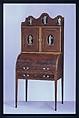 Desk and bookcase, Mahogany, satinwood, holly, verre églomisé with cedar, pine, American