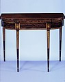 Card table, Mahogany, satinwood, sycamore, holly with oak, yellow poplar, American