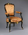 Armchair, Auguste-Émile Rinquet-Leprince (1801–1886), Applewood or pearwood, ebonized walnut, beech, and gilt bronze mounts, American or French