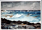 Shore and Surf, Nassau, Winslow Homer (American, Boston, Massachusetts 1836–1910 Prouts Neck, Maine), Watercolor and graphite on off-white wove paper, American