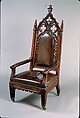 Armchair, Attributed to Thomas Brooks (1810/11–1887), Rosewood, brass, leather, replacement upholstery, American