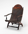 Campeche Chair, Mahogany and mahogany veneer, light and dark wood inlay, and leather, American