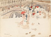 Umbrellas in the Rain, Venice, Maurice Brazil Prendergast  (American, St. John's, Newfoundland 1858–1924 New York), Watercolor and graphite on off-white wove paper, American