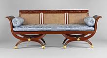 Sofa, Attributed to Duncan Phyfe (1770–1854), Mahogany, tulip poplar, cane, gilded brass, American