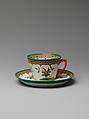 Teacup and saucer, Designed by Karl L. H. Müller (ca. 1820–1887), Porcelain, American