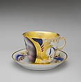 Cup and Saucer, Rudolph T. Lux (b. Germany, 1815–1868), Porcelain, American