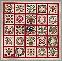 Quilt, Album pattern, Members of the Brown and Turner families, Cotton, American