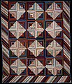 Quilt, Log Cabin pattern, Light and Dark variation, Wool and cotton, American