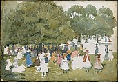 Pedestrians in a Park, Maurice Brazil Prendergast  (American, St. John's, Newfoundland 1858–1924 New York), Watercolor and graphite on off-white wove paper, American