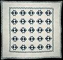 Quilt, Double X pattern, R. M., Cotton, American
