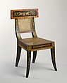 Side Chair, Benjamin Henry Latrobe (American (born England), Fulneck, Yorkshire 1764–1820 New Orleans, Louisiana), Yellow poplar, oak, maple, white pine, gold leaf, and gesso, American