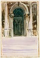 Green Door, Santa Maria della Salute, John Singer Sargent (American, Florence 1856–1925 London), Watercolor, graphite, gouache, and wax crayon on white wove paper, American