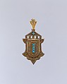 Locket, Possibly Mr. Johnson (father of E. M. Johnson), Gold, turquoise, and crystal, American