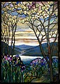 Magnolias and Irises, Designed by Louis Comfort Tiffany (American, New York 1848–1933 New York), Leaded Favrile glass, American