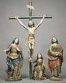 Christ crucified (from a Calvary group), Wood, polychromed and gilded; glass; silver, Ecuadoran