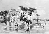 Italian Lake Scene with Villa (from Cropsey Album), Carl Friedrich Heinrich Werner (German, 1808–1894), Pen and brown ink and lead-white gouache on light brown wove paper, American