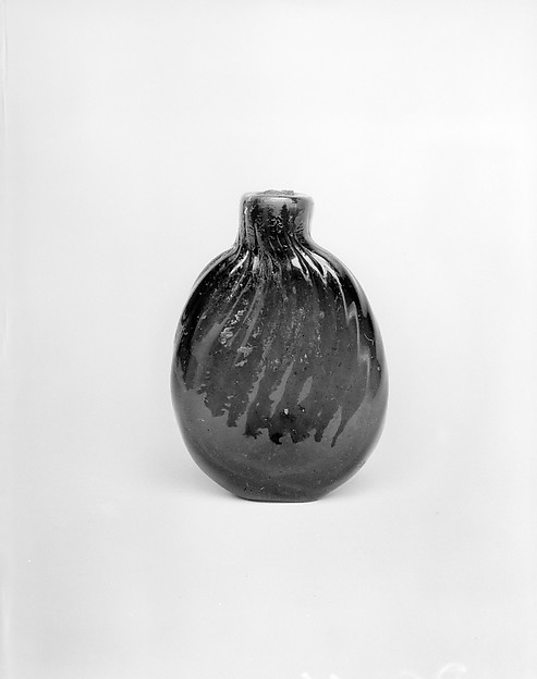 Scent Bottle, Blown pattern-molded glass, American