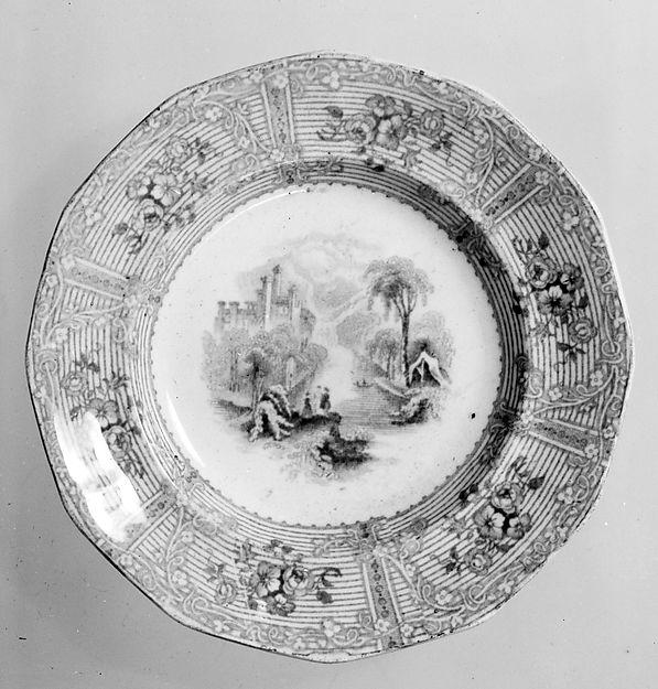 Plate, Probably Joseph Heath (active ca. 1845–53), Earthenware, transfer-printed, British (American market)