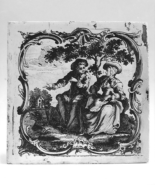 Tile, John Sadler (1720–1789), Earthenware, transfer-printed, British
