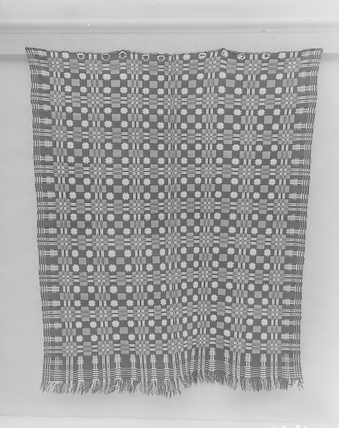 Coverlet, Four Snowballs pattern with Pine-tree border, Wool and cotton, woven, American