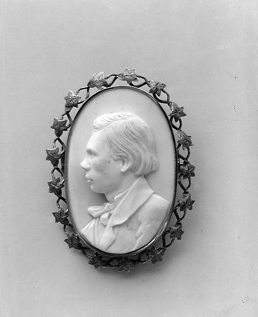 Cameo Portrait of Frederick Marshall, Queen conch shell, gold, American