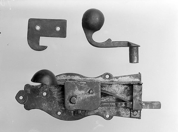 Latch Lock, Key, and Catch, Wrought iron, American