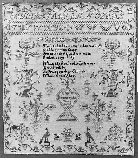 Embroidered Sampler, E. T. Townsend, Linen embroidered with silk thread (?), American
