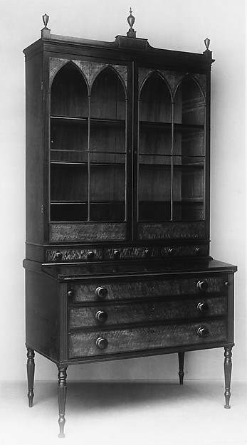 Desk and Bookcase, Attributed to Thomas Seymour (1771–1848), Maple, mahogany, oak, white pine, American
