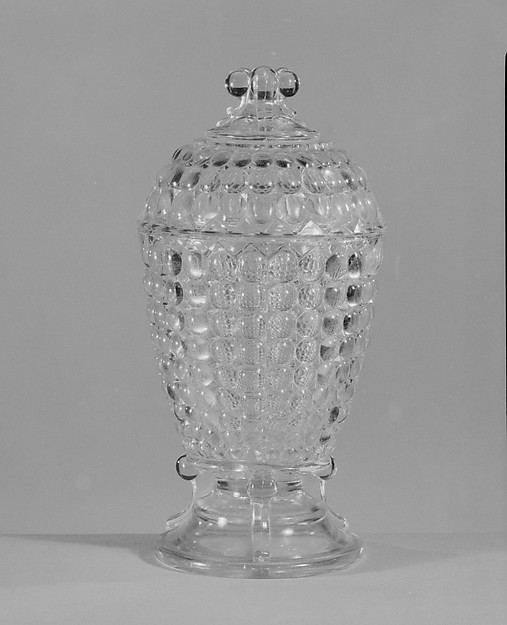 Covered Sugar Bowl, Adams and Company, Pressed yellow glass, American
