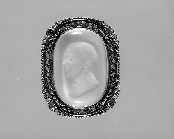 Cameo, Carved by Beth Benton Sutherland (1898–1972), Gold, moonstone, diamonds, emeralds, American