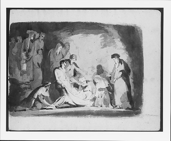 Entombment (from Sketchbook), Thomas Sully (American, Horncastle, Lincolnshire 1783–1872 Philadelphia, Pennsylvania), Ink, wash, on paper, American