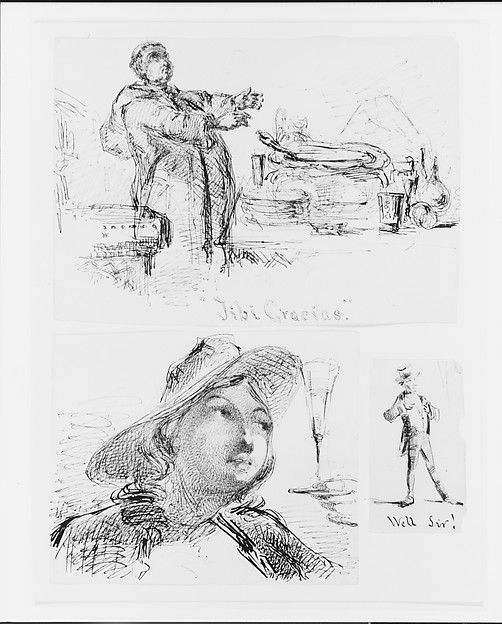 Bust of a Young Woman with Hat, Wine Glass (from Sketchbook), James McNeill Whistler (American, Lowell, Massachusetts 1834–1903 London), Black ink and graphite on off-white wove paper, American
