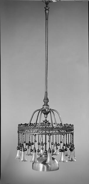Chandelier, Designed by Louis Comfort Tiffany (American, New York 1848–1933 New York), Leaded opalescent glass, metal, American