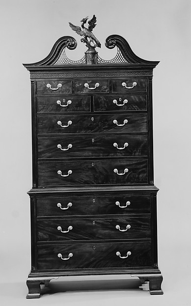 Chest-on-chest, Attributed to Thomas Affleck (1740–1795), Mahogany, mahogany veneer, white cedar, yellow pine, tulip poplar, American