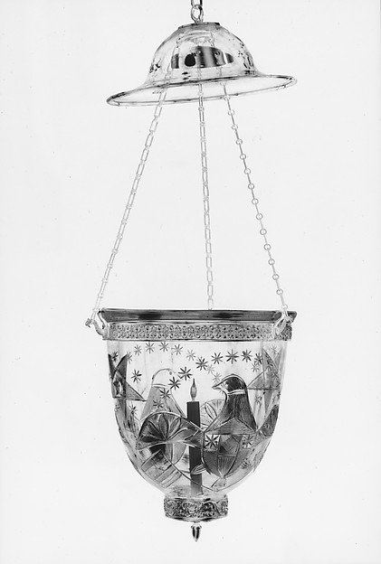 Hall Lantern, Blown and cut glass, gilded brass, American
