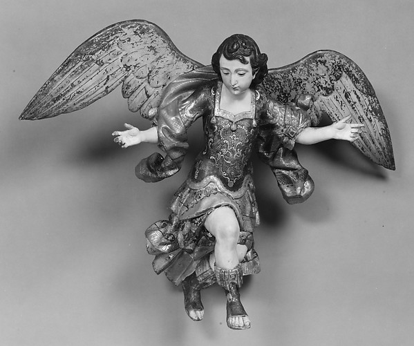 Angel from a nativity, Wood, polychromed and gilded; silver-gilt; glass, Guatemalan