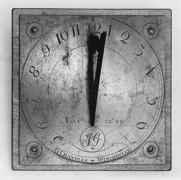 Sundial, Goldsmith Chandlee (1751–1821), Brass, mahogany, American