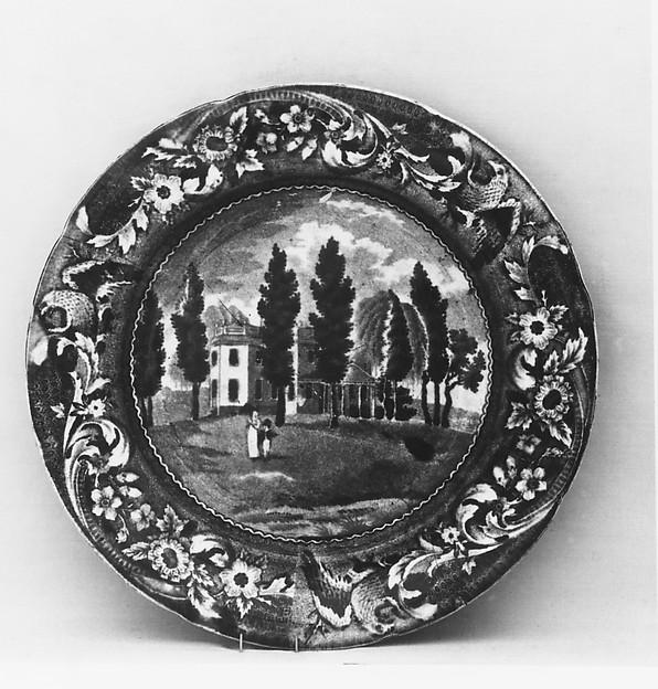 Plate, Joseph Stubbs (active ca. 1822–36), Earthenware, transfer-printed, British (American market)