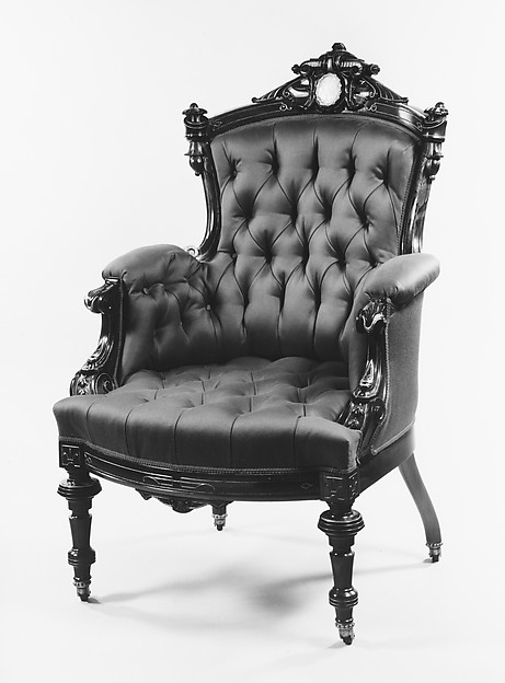 Armchair, Attributed to John Jelliff (1813–1893), Rosewood, ash, mother-of-pearl, American