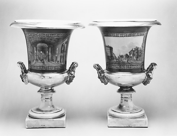 Urn, Porcelain, overglaze enamel decoration, gold, painted with views of New York City, French